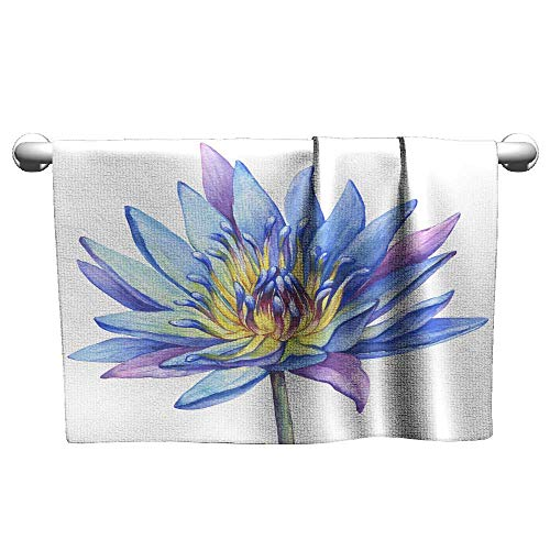 Bath Towel Flowers Blue Egyptian Lotus (Water Lily Nymphaea caerulea Sacred Lotus) Watercolor Hand Drawn Painting Illustration Isolated on White Background,Quick Dry Towel for - Flower Lotus Egyptian
