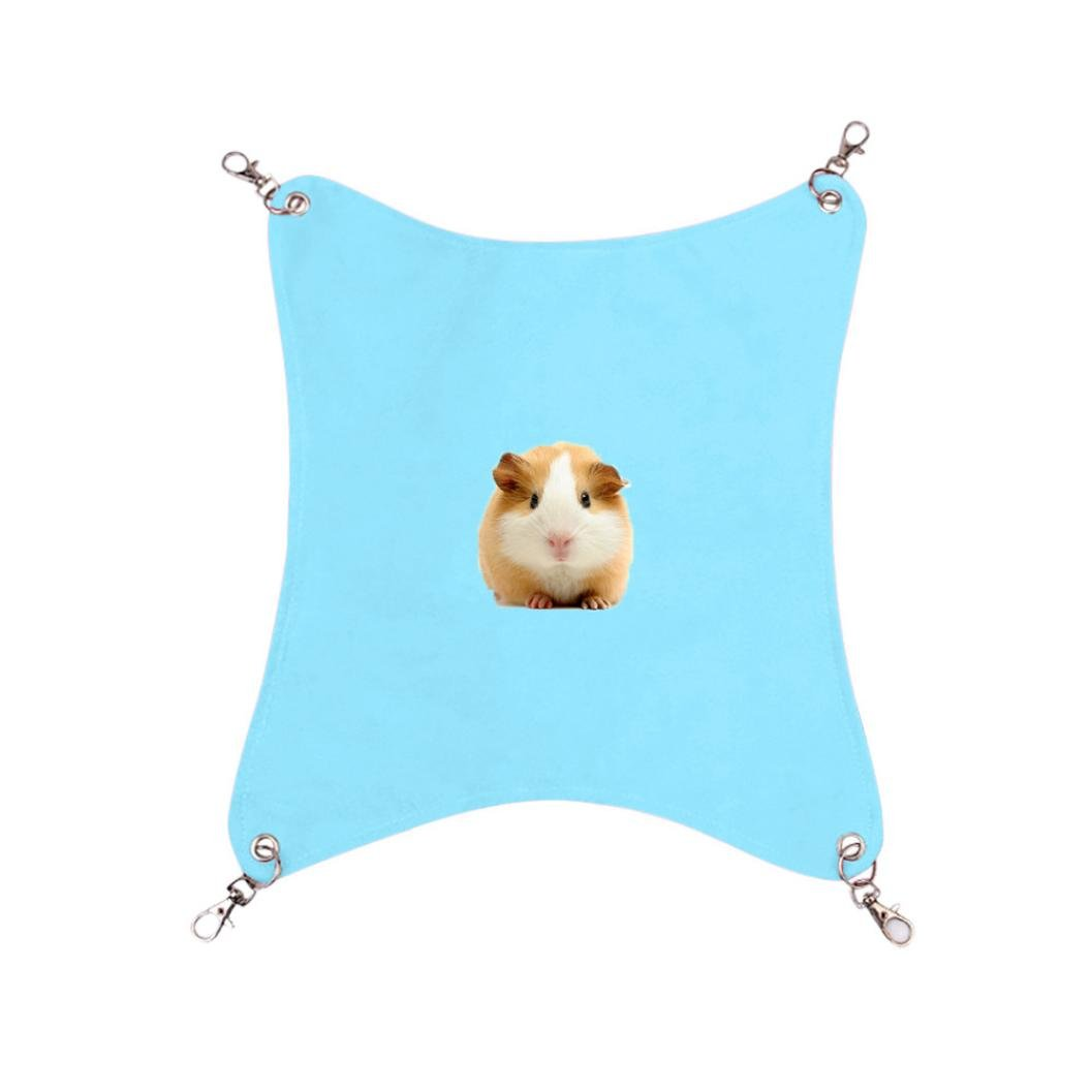 Smdoxi cat hammock ferret rat rabbit small dogs or other pet easy to attach to a cage (L, Blue)