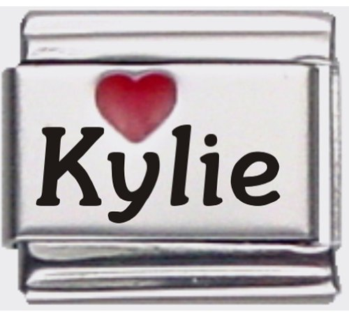 Kylie Red Heart Laser Name Italian Charm Link