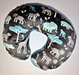 Minky Nursing Pillow Cover. Jungle Tales Cuddle in Topaz. You choose the Dimple Dot back. Back is pictured in Turquoise Dimple Dot.