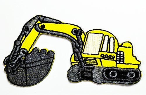 Loader Bulldozer (Yellow Backhoe digger tractor loader trackhoe bulldozer embroidered Cartoon Movie patch Kid Baby Boy Jacket T Shirt Patch Sew Iron on Embroidered Symbol Badge Cloth Sign Costume)