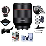 Samyang Auto Focus 50mm f/1.4-16 FE Lens for Sony E-Mount - Bundle With 67mm Filter Kit, LensAlign MkII Focus Calibration System, Peak Design Lens Changing Kit Adapter, Pc Software Package And More