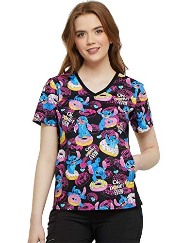 Cherokee Tooniforms by Women's V-Neck Knit Panel Lilo and Stitch Print Scrub Top XX-Large Print