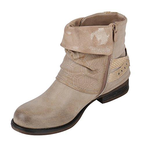 Japado - botas estilo motero Mujer Beige