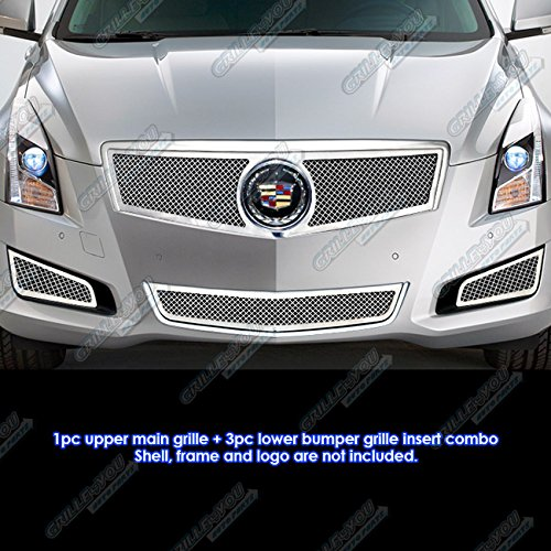 Fits 2013-2014 Cadillac ATS W/ Fog Light Cover Stainless Steel Mesh Grille Combo ()