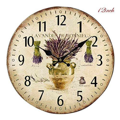 - Aishankra 12''/14'' Retro Simple Wooden Silent Wall Clock Stylish Roman Number Non Ticking Office Kitchen Living Room Hallway Decorative Timepiece,A