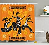 African Decorations Shower Curtain Set By Ambesonne, Native African Dancer Figures With Poly Rhythm Total Body Articulations Design, Bathroom Accessories, 69W X 70L Inches, Orange Black