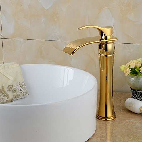 Wovier Gold Polished Waterfall Bathroom Sink Faucet,Single Handle Single Hole Vessel Lavatory Faucet,Basin Mixer Tap Tall (Gold Vessel Lavatory Spouts)
