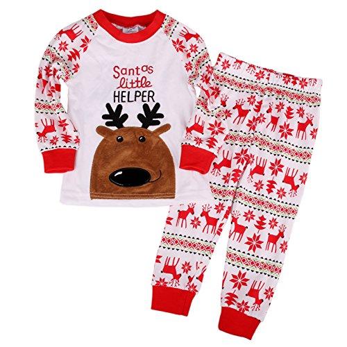 Flying Reindeer Toddler Kid Boys Girls Christmas pajama T shirt+long pants A7169