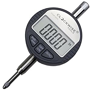 Clockwise Tools DIGR-0055 Electronic Digital Indicator Gage Gauge Inch/Metric Conversion 0-0.5 Inch/12.7 mm with Back Lug Auto Off Featured Measuring Tool