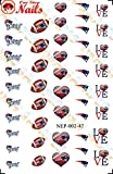 A England Nail Polish New England Patriots Waterslide Nail Decals (Tattoos) V2 (Set of 47)