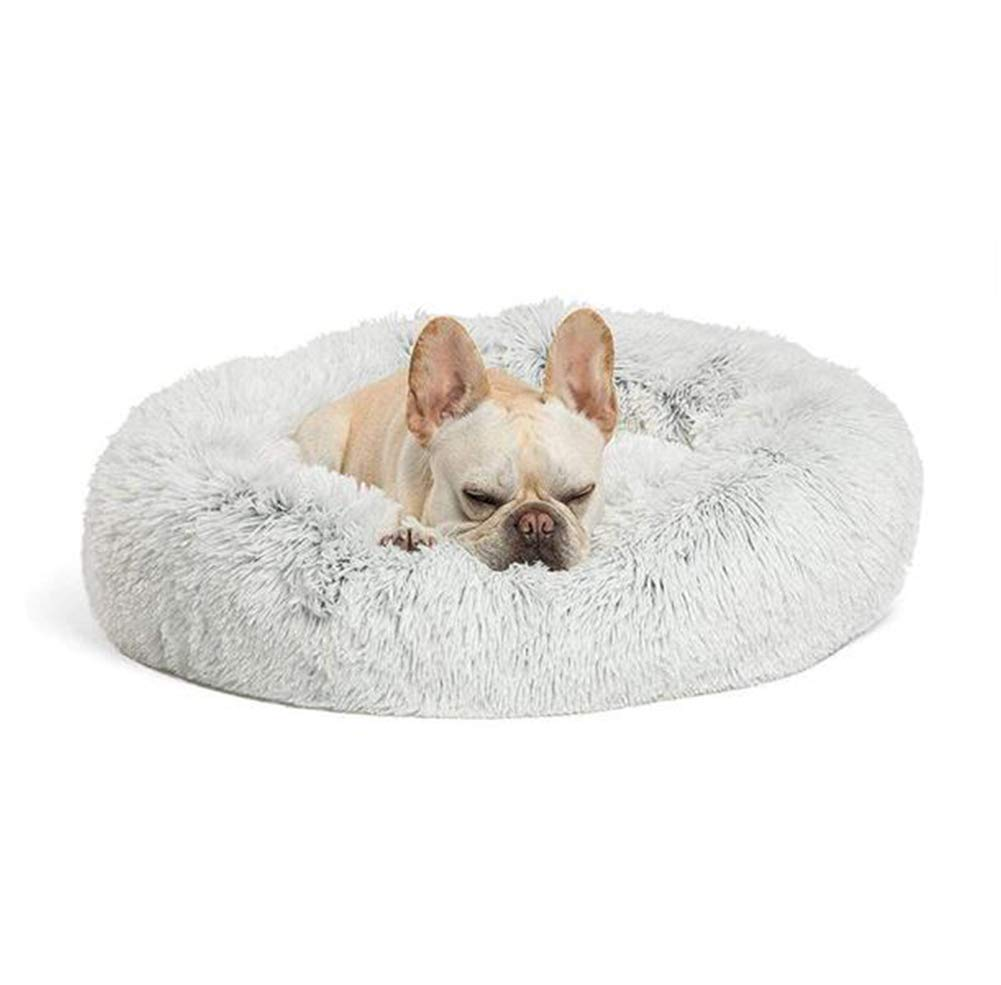 XLBHSH Fluffy Faux Fur Dog Bed Sofa Donut Calming Pet Bed Cushion Snuggly Pet for Small Medium Large and Extra Large Dog&Cats,M2,80CM