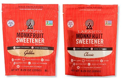 Lakanto Monkfruit Natural Sweetener Variety Pack, Classic & Golden Sweetener, 8.29 Oz