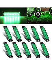 HONG 111 LED Rock Strip Lights, Car Led Underglow Wheel Fender Well Lighting Kits for Golf Cart Jeep Offroad Truck Ford RV UTV ATV Snowmobile,10Pcs(Green)