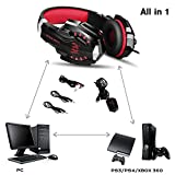 BENGOO Gaming Headset for XBOX 360 PS4 PS3 PC Professional 3.5mm PC Game Bass Headphones Stereo Noise Isolation Over-ear Headset Headband with Mic Microphone For XBOX 360 PS4 PS3 Laptop Computer