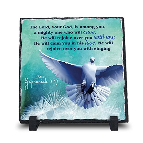 InspiraGifts The Lord, Your God, is Among You. Zephaniah 3:17 (Square 7.5X7.5, Web) | Superior Religious Inspirational Home Décor Polished Slate | Christian Home Plaque Stone Gift