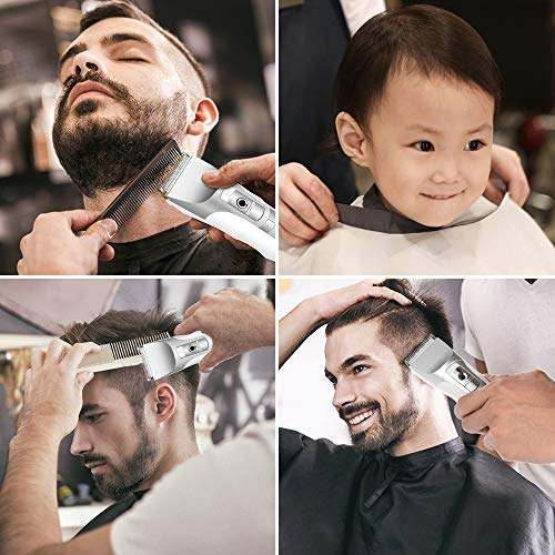 Hair Clippers for Men,Teamyo Professional Barber Cordless Clippers,LED Display 5 Speed Adjustable USB Rechargeable Hair Cutting Kit with Scissors,Charging Stand for Adult & Kids
