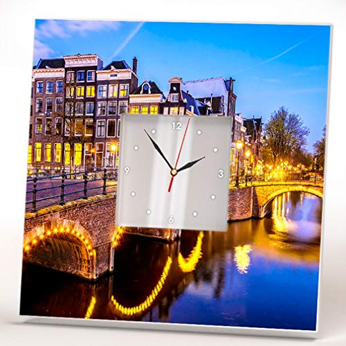 Amsterdam Canals Wall Clock Mirror Framed Street Travel Netherlands Printed Fan Art Home Decor Gift (Canal Street Stores)