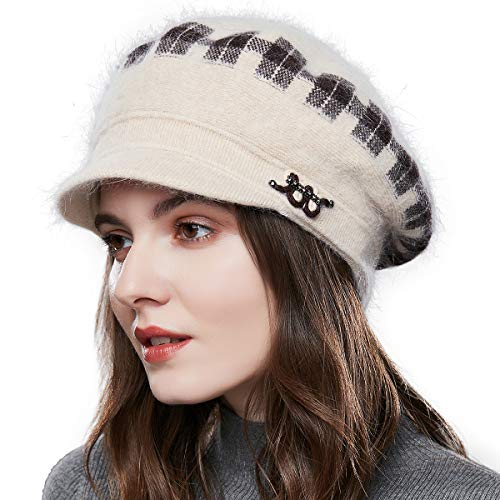 - Women Winter Beret Hat Acrylic Rabbit Snow Beanie Ski Caps with Visor