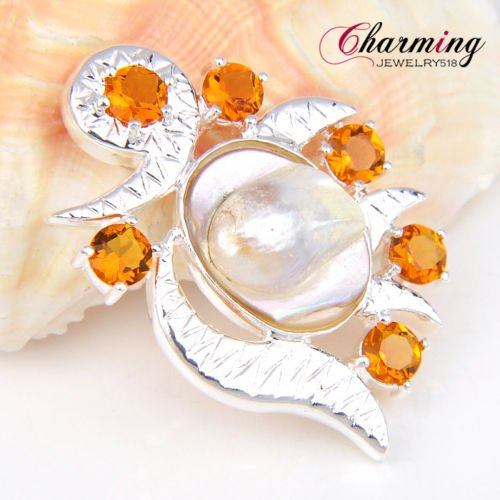 Amazing Gorgeous Natural Mabe Pearl Brazil Citrine Gems Silver Necklace Pendant