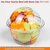 8 oz yogurt cups - GOLDEN APPLE, 8 oz Clear Plastic Cups for Ice Cream, Dessert Cups,Snack bowl with Dome lids no hole 30sets