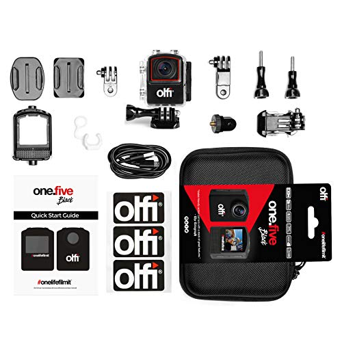 Olfi One.Five Waterproof 4K Black Edition Action Camera (2nd Gen.) with Stabilisation, WiFi Plus Interchangeable and Rechargeable Battery (Best Autocorrect App For Android)