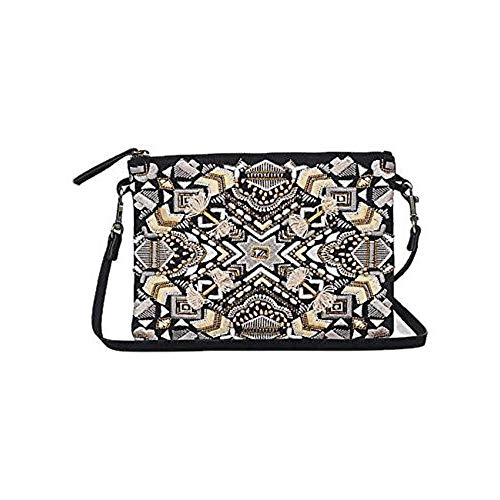 Art Deco Handbag - Lucky Brand Handbag Art Deco Embroideried Pouch Crossbody Bag Clutch Beaded Black