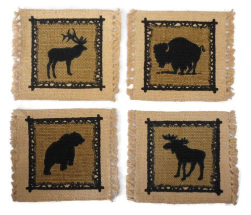 - Rustic Lodge Décor Wildlife Stenciled Cotton Coaster Set