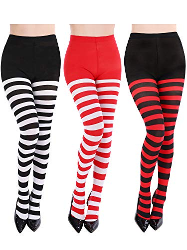 Blulu 3 Pairs Women Striped Tights Full Length