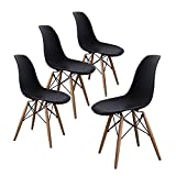 Black Dining Room Chairs Buschman Set of Four Black Eames-Style Mid Century Modern Dining Room Wooden Legs Chairs