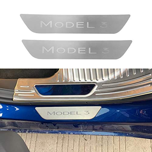 (BASENOR Tesla Model 3 Rear Door Sill Stainless Steel Protection Plates)