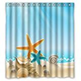 "Custom Waterproof Bathroom Shower Curtain(Rideau de douche)66"" x 72"" Ocean Theme Sea Life Starfish Seashell Shell Conch Blue"