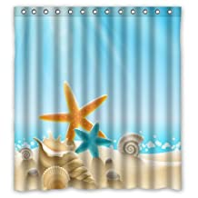 "Custom Waterproof Bathroom Shower Curtain(Rideau de douche)66"" x 72"" Ocean Theme Sea Life Starfish Seashell Shell Conch Blue"