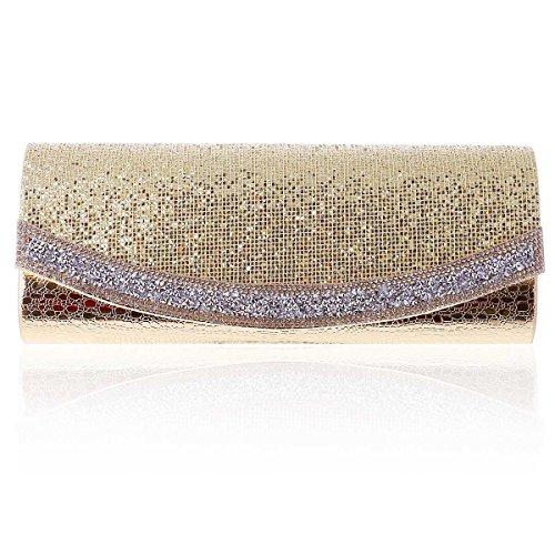 Gold Texture Flap Long Clutch Damara Womens Evening Sequins vqwxS70U