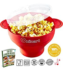 Oxinart Collapsible Microwave Popcorn Popper for Home - Silicone Hot Air Popcorn Maker Bowl with Handles, Removeable Lid, Dishwasher Safe. No Oil Needed. No BPA or PVC Toxins, Free eBook (Red)