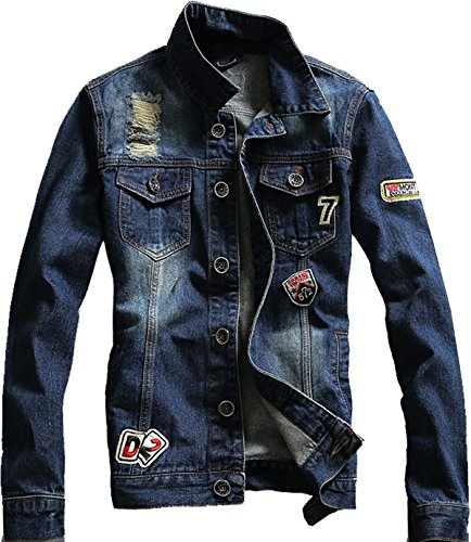- SWORLD-men Letters Embroidery Punk Button Denim Jackets Holes Moto Blazer Jacket