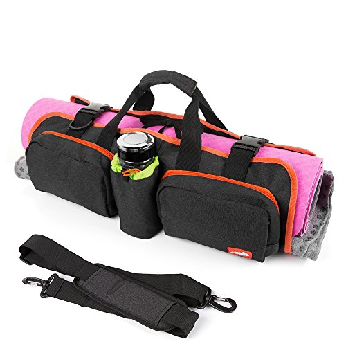 Mansov Yoga Mat Tote Bag with Multifunctional Storage Pockets Durable Compact Sling Yoga Bag with Adjustable Shoulder Strap
