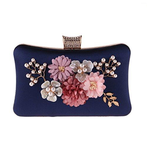 Polyester Pearl Evening Clutch Small Bag Bag Flowers Blue Party Dress Bag Women's 7FfTq