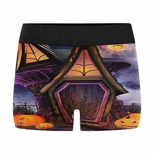 InterestPrint Mens Boxer Briefs Underwear Halloween Scene with Fantasy Hut, Pumpkins and Moon XXXL ()