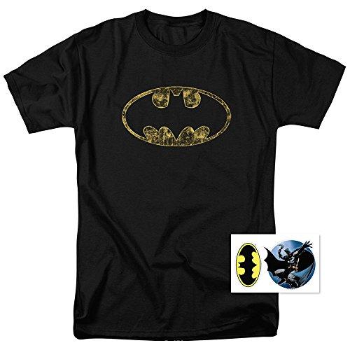 Batman Washed Out Logo DC Comics T Shirt (Washed Logo Mens Hoodie)