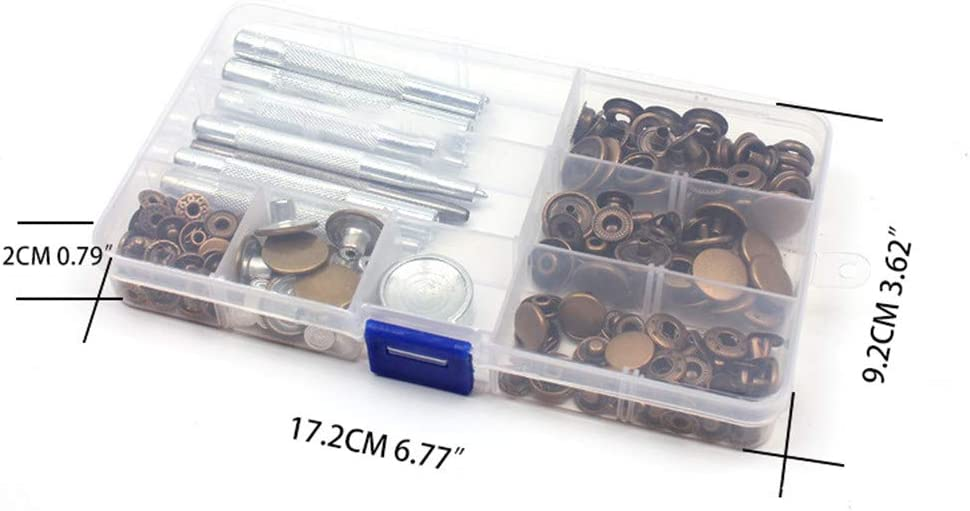 50 Sets Snap Fasteners Kit Metal Snaps Buttons with Fixing Tools for Clothing Leather Jacket Jeans Wear Bags Bracelet