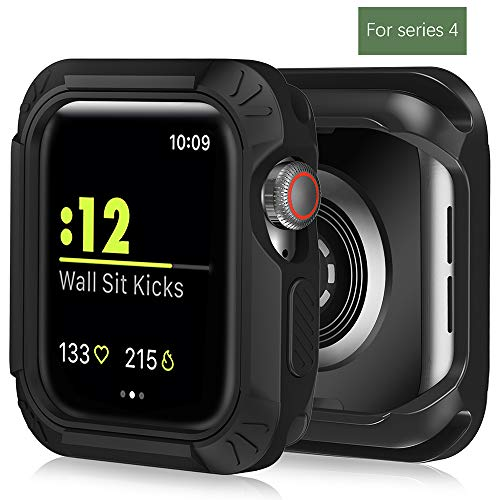 Case Compatible for Apple Watch 4,Steanum Flexible TPU + PC 2 in 1 Bumper Case Shockproof Scratch & Shatter Resistant Protective Case for Apple Watch Series 4 44mm 2018