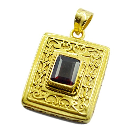 Gold Plated Ruby CZ Bead Astrological Pendant For Women Handmade Charms Rectangle Shape Design Necklace