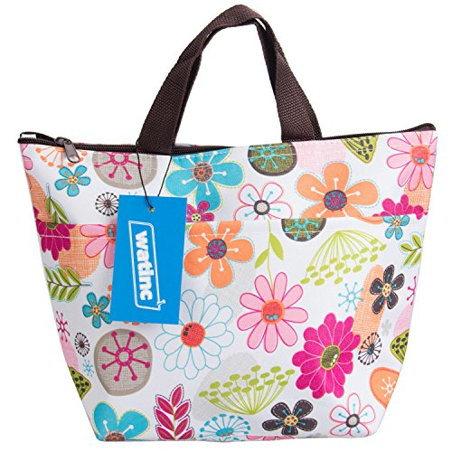 WATINC Lunch Bags, Lunch Box Package Arricastle Oxford Cloth Aluminum Foil Insulated Zip Portable Takeaway Aluminum Film Pack Cooler Bag(Colorful flowers) - Fruit Lunch Bag