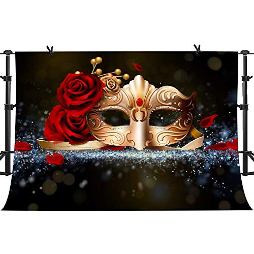 PHMOJEN Golden Mask Red Rose Photography Backdrop for Masquerade Theme Party Photo Background Vinyl 10x7ft LYPH212]()