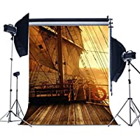 MUEEU 6x9t Pirate Ship Ocean Vinyl Photography Backdrops Wooden Deck Children Kids Birthday Portrait Photo Background Studio Props