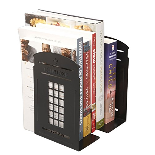Winterworm Vintage Fashion British Style London Telephone Booth Kiosk Decorative Iron Metal Bookends Book End Book Organizer For Library School Office Desk Study Home Decoration Gift (Black) by Winterworm