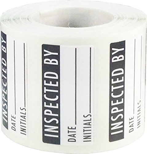White and Black Inspected By Labels, 3/4 x 1 1/2 Inch in Size, 500 Adhesive Stickers on a Roll