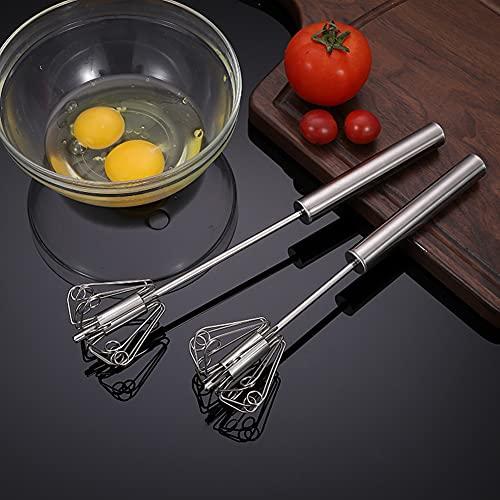 Stainless Steel Egg Whisk, Hand Push Rotary Whisk Blender, Versatile Milk Frother, Hand Push Mixer Stirrer for Blending, Whisking, Beating & Stirring (12in)
