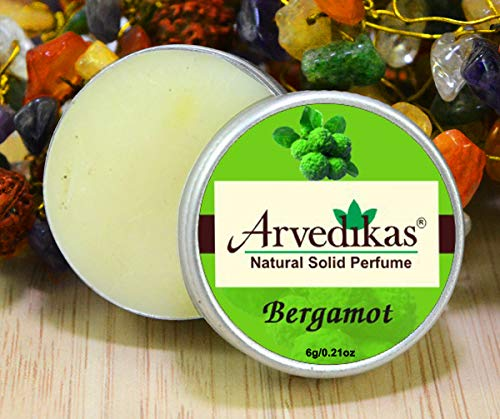 Arvedikas Bergamot Natural Solid Perfume Beeswax/Mini Jar/Floral Fragrance/Essential Oil Blend Perfume/Organic Vegan Travel Perfume/Women Aromatic Scent/Body Musk / (10gm each - 0.35oz) - Solid Perfume Blossom Cherry